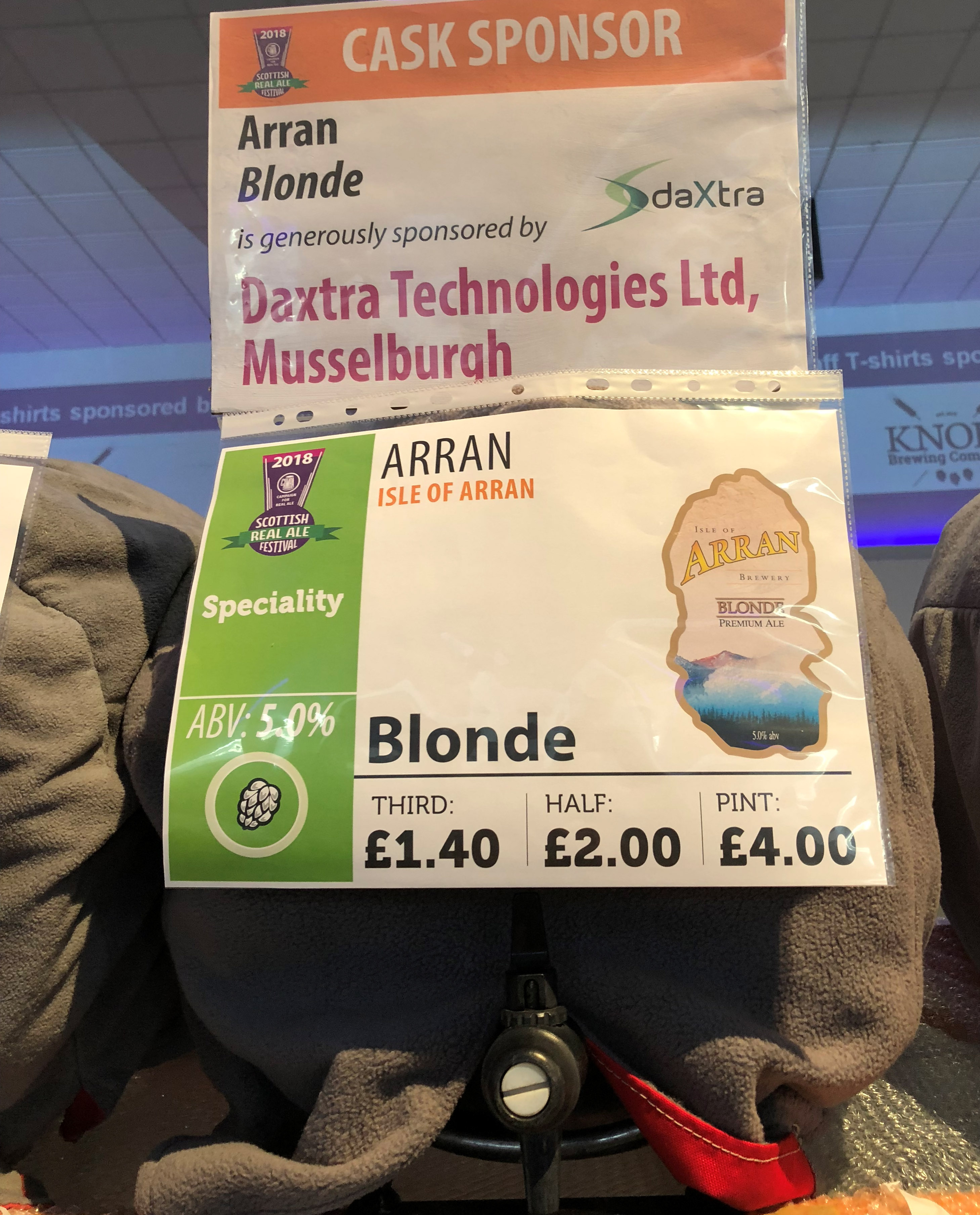 DaXtra sponsors cask of Arran Blonde