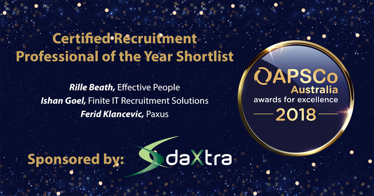 Certified Recruitment Professional of the Year Award sponsored by DaXtra